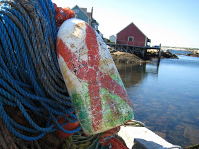 Fishing buoy and wharf in Peggy's Cove Nova Scotia