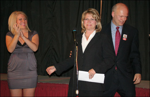 Liberal Kelly Regan victory speech in front of supporters at Brewsters Restaurant in Bedford on Tuesday night. Regan captured the Bedford-Birch Cover riding with 4,861 votes. NDP candidate Brian Mosher finished second with 3,552 votes and incumbent PC Len Goucher finished third with 2,268 votes.