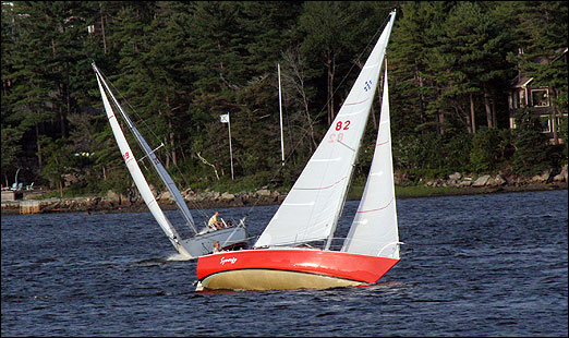 Sailboats from the Bedford Basin Yacht Club participate in a race on Wednesday evening.