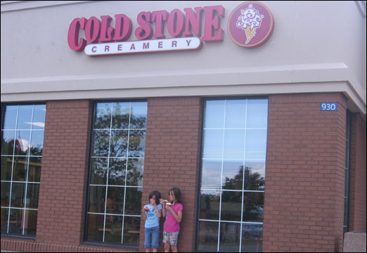 Bedford locals enjoy ice cream from the new Cold Stone Creamery located inside the Tim Hortons in the Village Centre plaza.