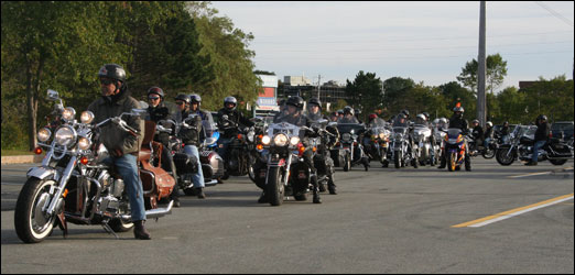 On Friday night, members of the Red Knights Motorcycle Club, comprised largely of firefighters, led a motorcycle ride to honour the firefighters who died in the 9/11 attacks in New York City eight years ago. The first annual 9/11 memorial ride, which was open to all riders, started in the parking lot of the Bedford Place Mall (pictured) and travelled through the city.