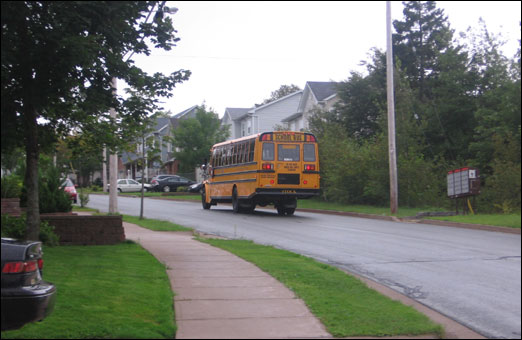 School bus on first day of school.