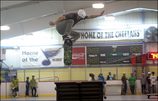 Boarders were catching some big air during a fundraiser for the Bedford Skatepark Action Team (B.SPAT) at the Lebrun Centre on Friday night.