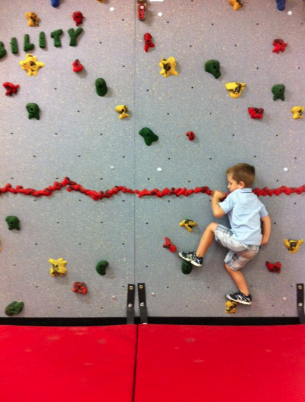 wordless wednesday: a match made in heaven …my rock climbing preschooler