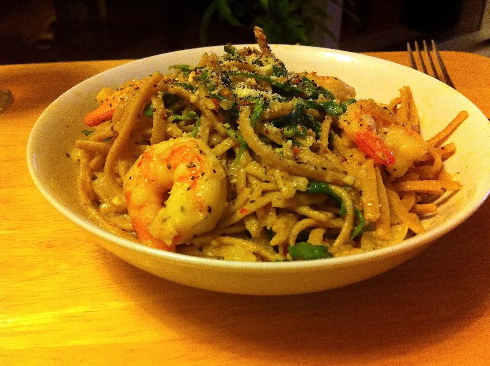 Lemon Shrimp Linguine with Arugula