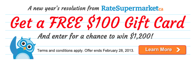 changing your credit card habits for the better: $100 gift card from ratesupermarket.ca