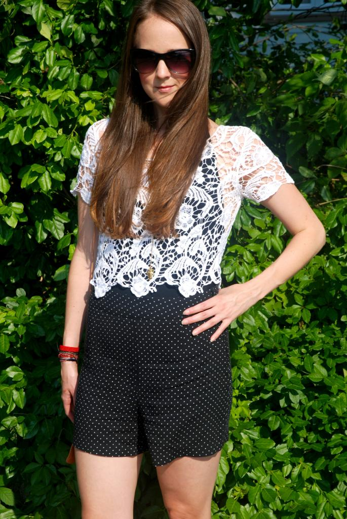, polka dot, longhair, ombre, joe fresh sunglasses, sunnies, adorn by sarah lewis, lace, lace crop top, crop tops, open back