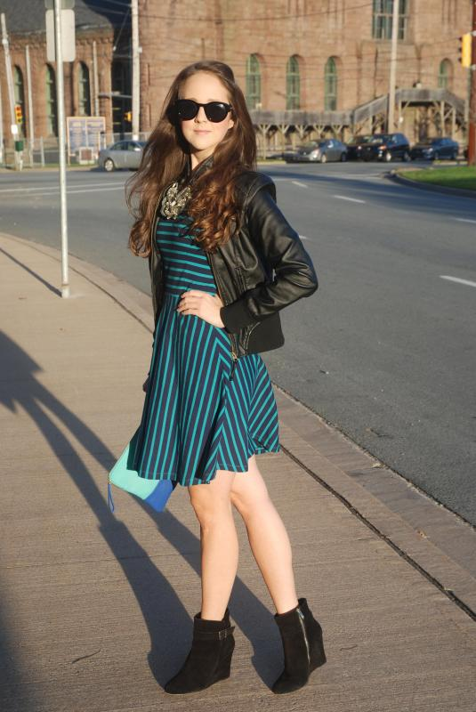 Fall Fashion, Blue Dress, Old Navy, Gap, Winners, Vince Camuto, Leather Jackets, Clutch, Sunnies, Polette, Atlantic Fashion Week, AFW, Atlantic Fashion