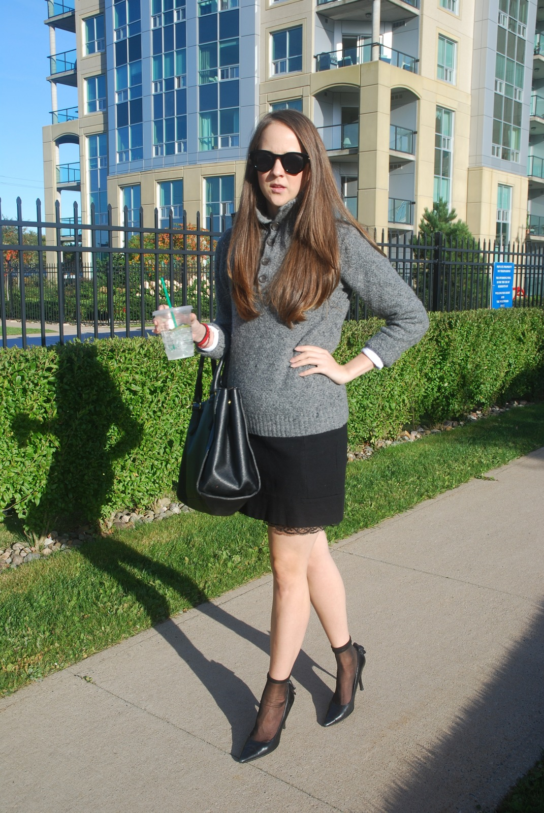 Mens sweaters, knit sweaters, mini skirts, Heels, Fall Fashion, Oufit Ideas, Canadian Blogger. Fashion Blogger,  H&M, Tommy Hilfiger, Polette Sunglasses, Aldo Shoes,