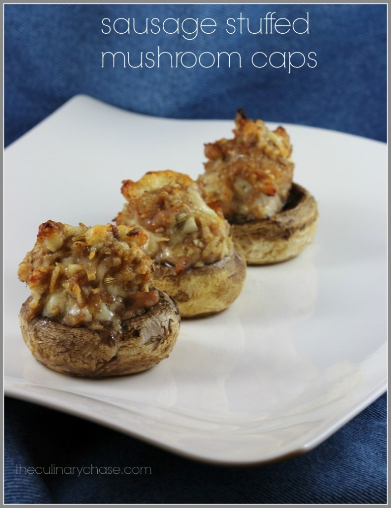sausage stuffed mushroom caps byThe Culinary Chase