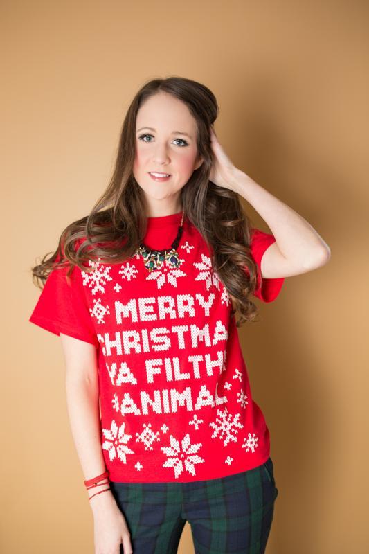 Merry Christmas Ya Filthy Animal Tshirt, Zara Trousers, Ugly Christmas Sweaters