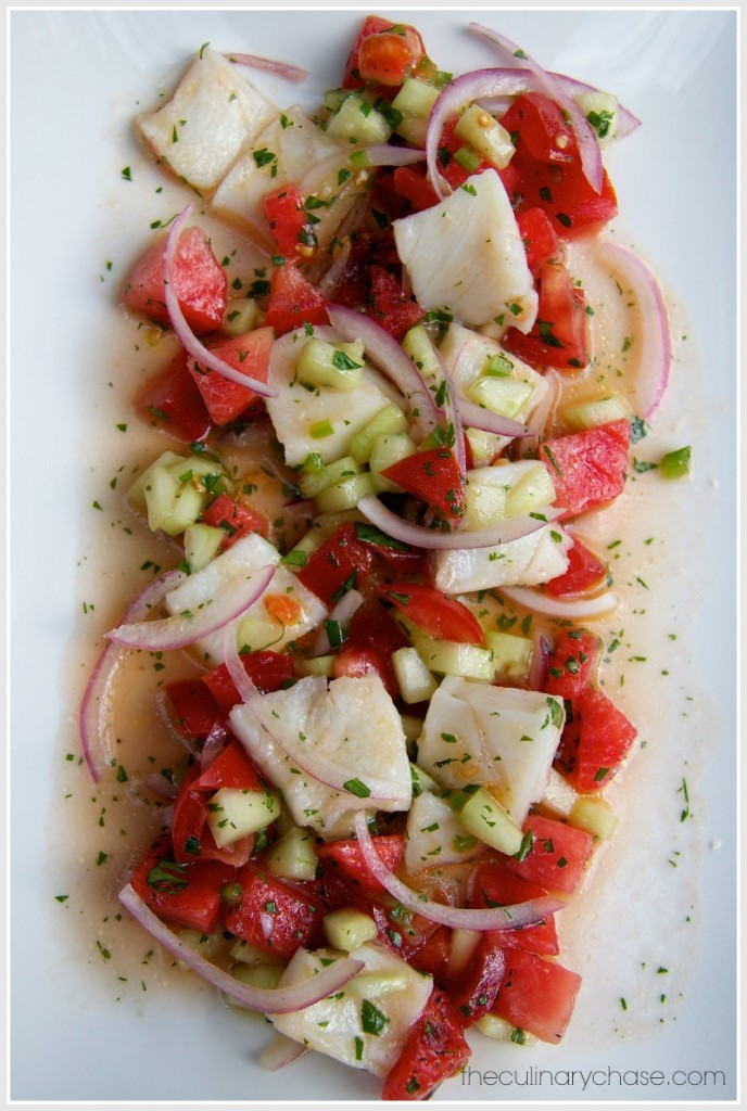 Halibut Ceviche with Watermelon by The Culinary Chase