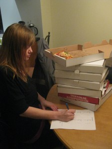 Jenna working on 7 pizzas. We take this seriously.
