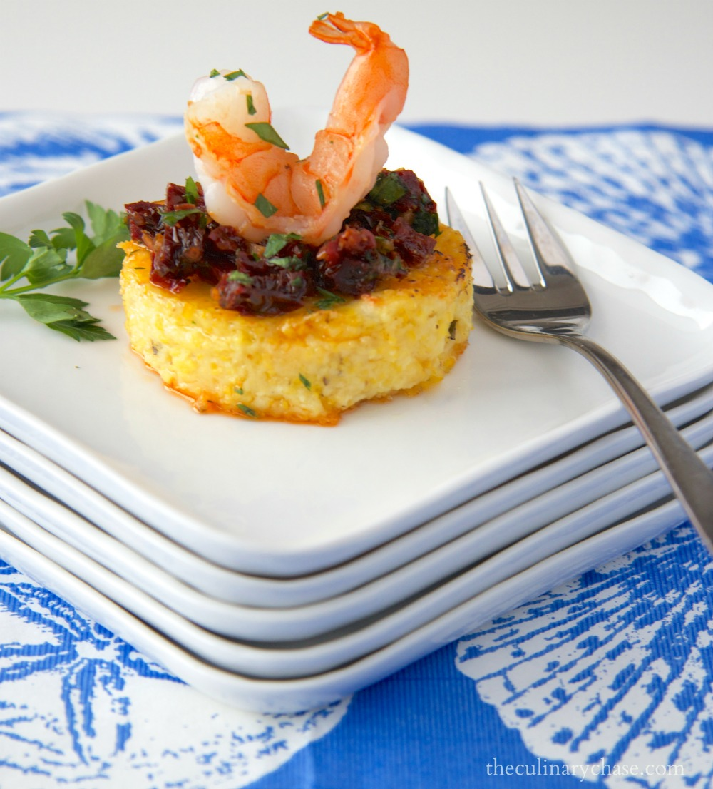 shrimp on polenta rounds with sun-dried tomato relish by The Culinary Chase