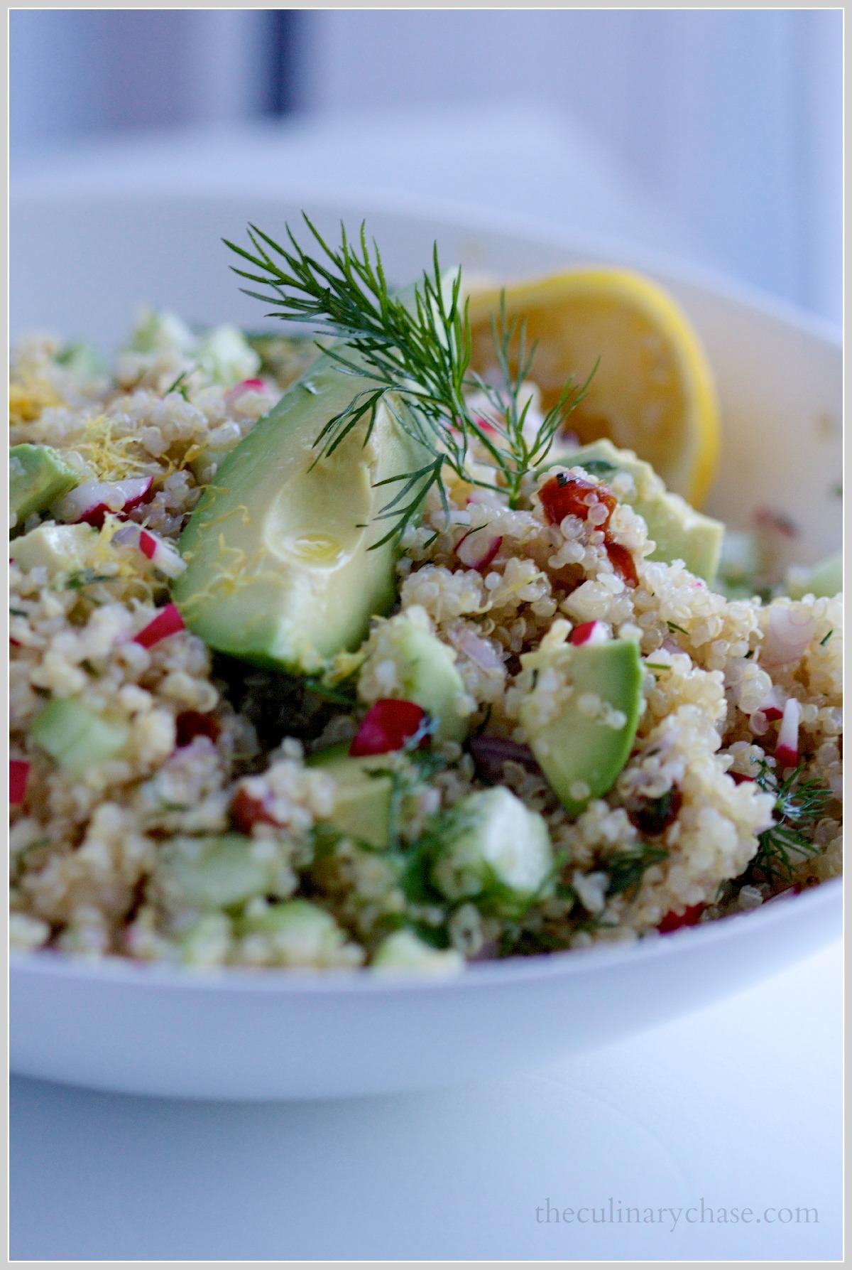 quinoa salad with radish, dill & avocado by The Culinary Chase