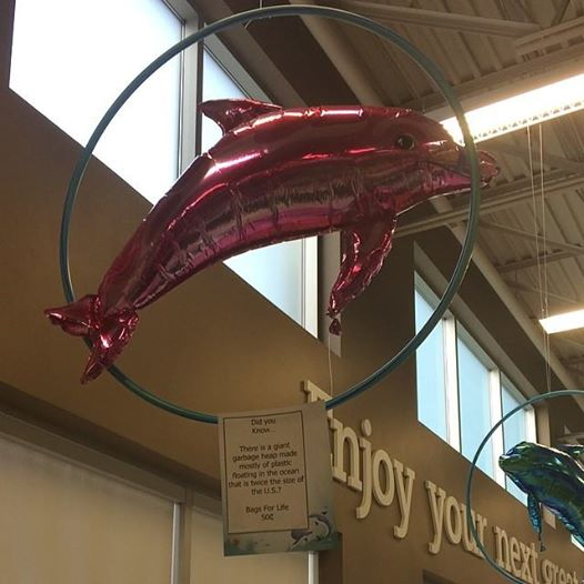 Observed this bit of terrible marketing at Sobeys where they used, Mylar balloons to encourage you not to use plastic bags. Mylar takes forever to breakdown, not the best way to help the environment.