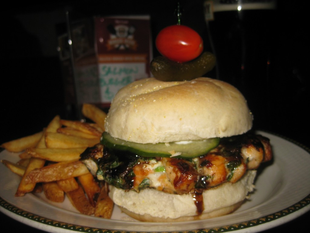 Salmon Burger at the Old Triangle: $15 with $5 going to FEED Nova Scotia