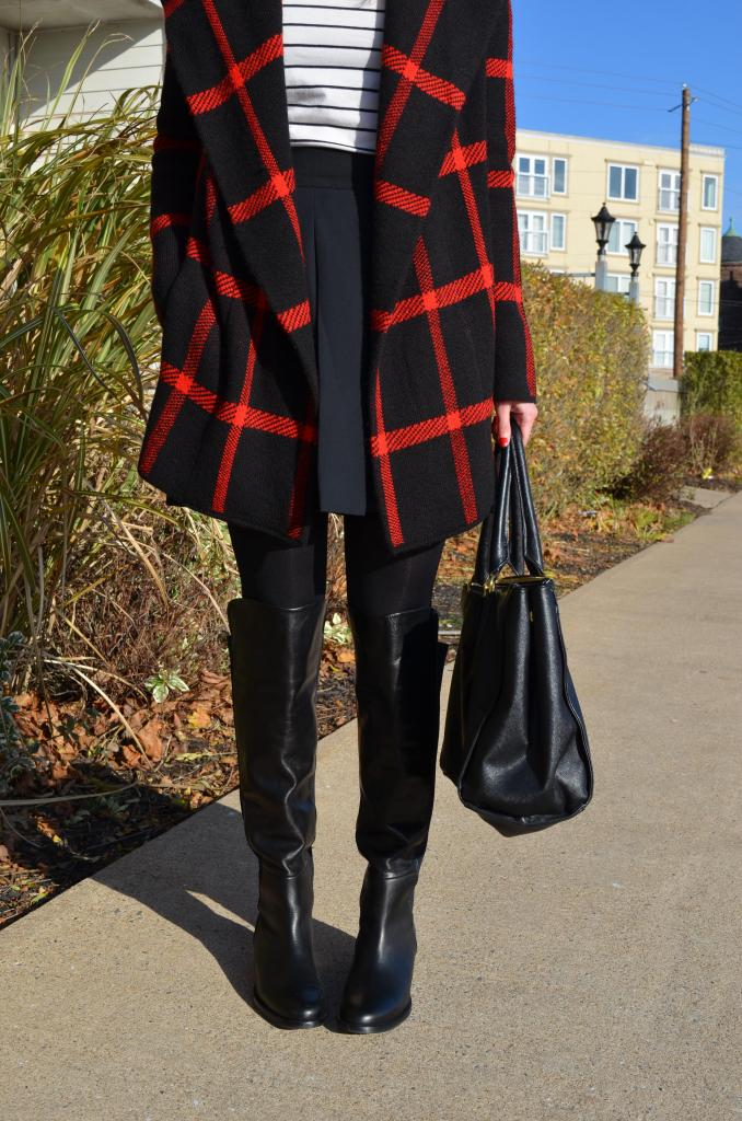 red plaid, sweater weather, sweater coat, le chateau, over the knee boots, skirts, canadain blogger
