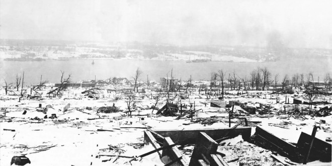 A desolate view of the harbour, after the ships collided