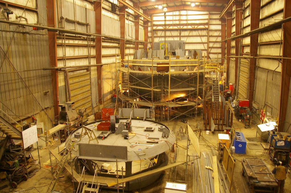 Work is well underway at Meteghan River where the new ferry is being built by A.F. Theriault & Son Ltd