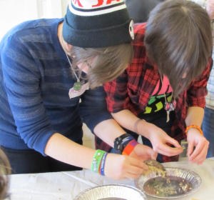 Above:  MickeyMickey Williams (Left) and Rachel St. Jean (Right) are in the final stages of the seed cleaning adventure – removing any remaining chaff by hand).