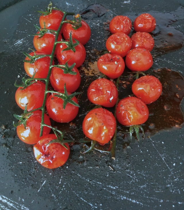 roasted cherry tomatoes on the vine