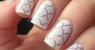 White Moroccan Print created with Whatsupnails Moroccan Stencils, Zoya Purity, and Orly Tiara. I started by painting my nail with the silver glitter, then applied the stencils. I then sponged the white polish over the stencils & added a topcoat.