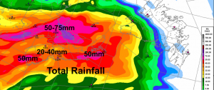 total rainfall Sun night-Mon