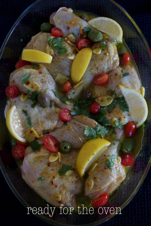 chicken stew, ready for the oven