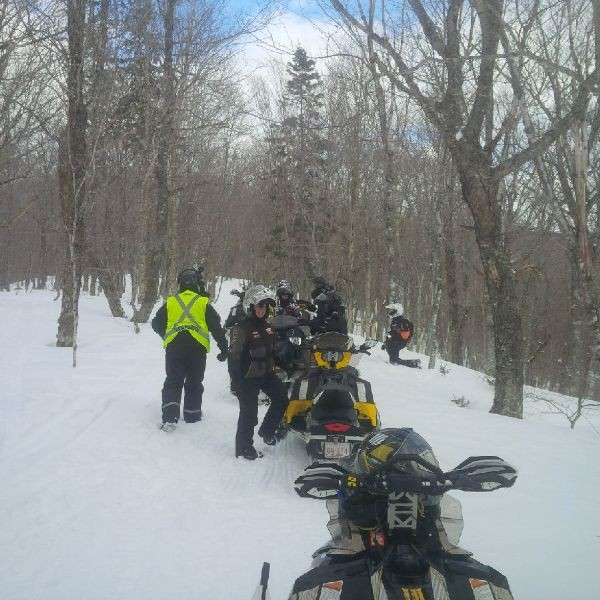Group snowmobiling.