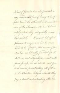 """A page from John Wentworth's 1797 letter describing the Maroon's arrival. In it he says he will instruct them """"in the Christian religion."""" (Credit: Nova Scotia Archives)"""