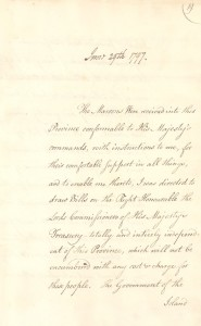 A page from 1797 letter stating that the Maroons' work would be paid for by a treasury fund. (Credit: Nova Scotia Archives)