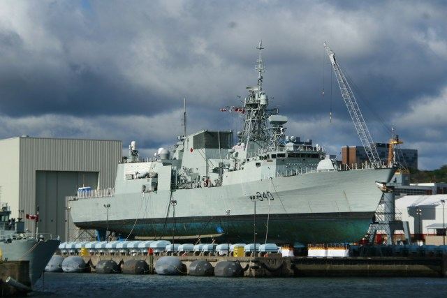 HMCS St John's on the Synchro Lift