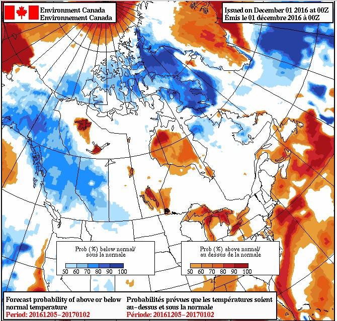 Environment Canada December temperature forecast