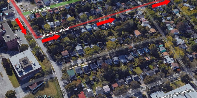 Halifax Transit plans to permanently detour the Route 1 Spring Garden to bypass busy Bayers Road into an adjoining residential neighbourhood. (Google Maps)