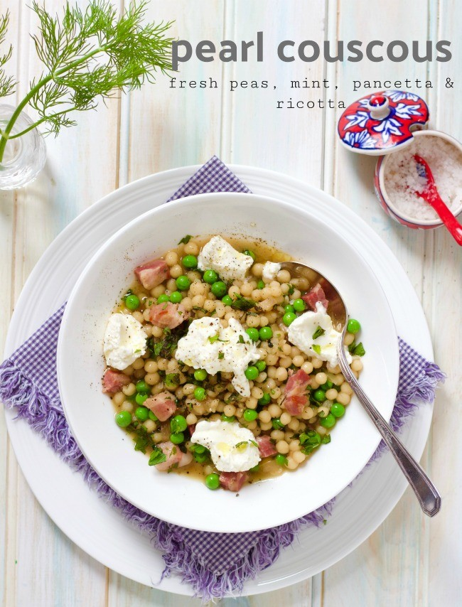 pearl couscous with fresh peas, mint, pancetta & fresh ricotta