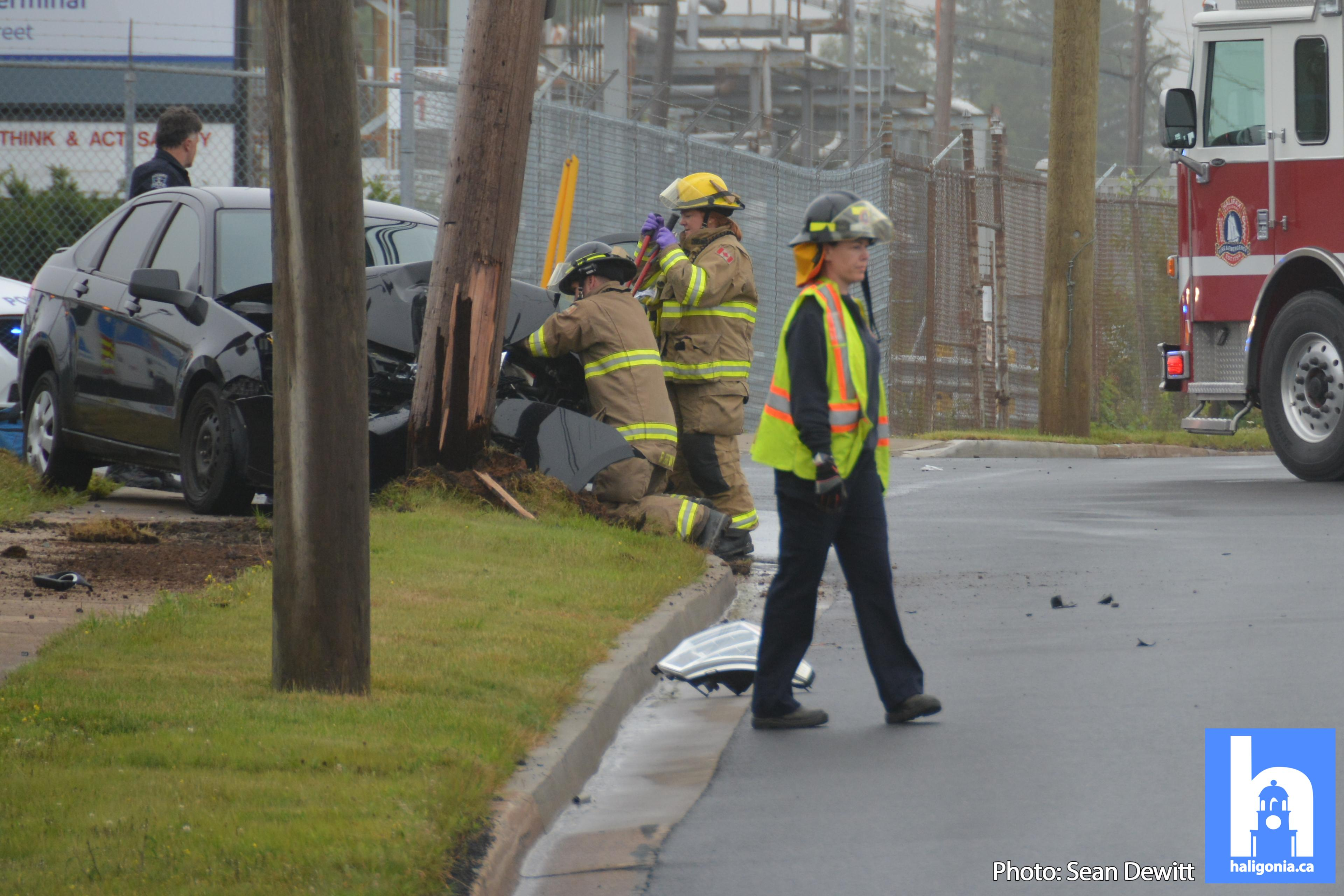 No injuries after motorist strikes pole while avoiding a racoon