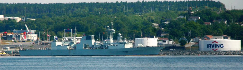 HMCS Halifax pulls into Irving for Gas.