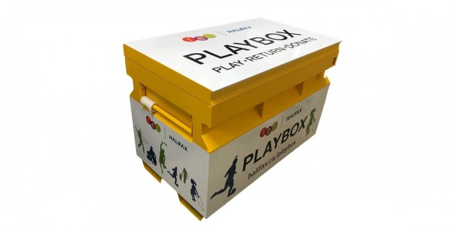 large playbox graphic on white
